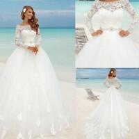 Princess Wedding Dresses Plus Size Bridal Ball Gowns Long Sleeves Lace Applique