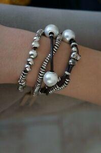 "NWT Uno De 50 Silver ORION 20th Anniversary Leather Pearl Wrap Bracelet 7"""