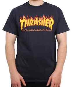 Thrasher Flame Logo T Shirt - Navy