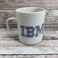 Vintage Classic White & Blue Stripe IBM Computer Coffee Mug Tea Cup