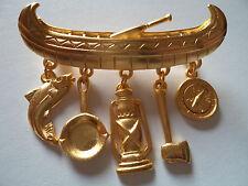 """Vintage Signed JJ """"Gold pewter Canoe Dangler"""" Brooch/Pin"""