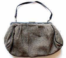 Planet Herringbone Bag dark brown wool blend shoulder handbag red lining vgc