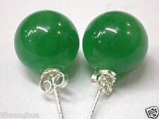 10mm green jade earring silver stud