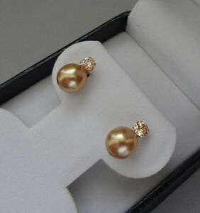 LUSTROUS 14K YELLOW GOLD  8mm GOLDEN PEARL STUD EARRINGS W/ SPARKLING ACCENTS