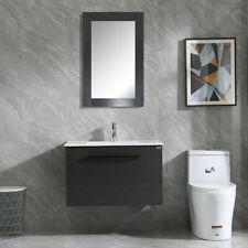 "32"" Single Bathroom Vanity Black Wood Cabinet w/ Sink & Mirror Combo Wall Mount"