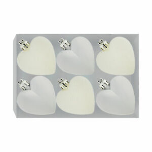 Davies Products 6 Pack 50mm Glitter / Plain Hearts - Silver and White
