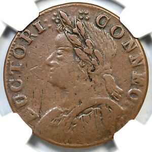 1787 8-O R-3 NGC VF 30 Connecticut Colonial Copper Coin