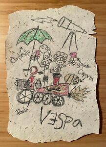 LUCA Alberto's Vespa Drawing from The Movie Luca (Hand Drawn on Recycled Paper)!