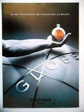 PUBLICITE-ADVERTISING :  ROCHAS Globe  1990 Parfum Homme