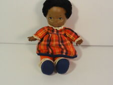 African American 1974 Elizabeth Lapsitter Fisher Price Baby Doll Red Plaid Dress