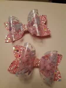 2 hairbows   using transparent  material GORGEOUS