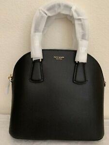 NWT KATE SPADE Sylvia Large Dome Leather Satchel Bag $328 Black PXRUA271