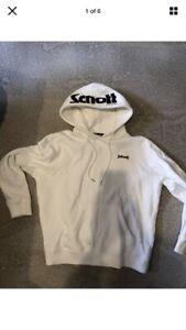 Men's Genuine Schott Hoodie Sweater Medium White with Navy & Red Logo Cotton