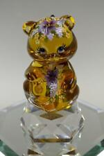 Fenton BEAR Autumn Gold PURPLE WILDFLOWERS Volcano Swarovski OOAK FREEusaSHP