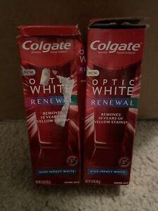 (2) Colgate OPTIC WHITE Renewal Teeth Whitening Toothpaste High Impact 3oz. Ea