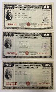 Lots of 3 1940's U.S. Savings Bonds $50 $25 $25