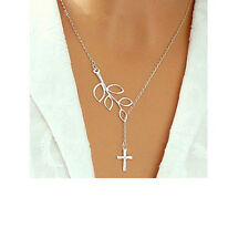 Dangling Cross Necklace Boutique D31 Silver Cutout Leaf With