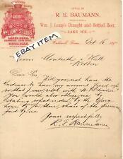 1892 LEMP BEER St. Louis Missouri LETTERHEAD Caldwall Texas R E Baumann PRE PRO