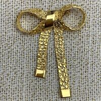 Vintage Gold Tone Ribbon Brooch Pin Nugget Style Textured Dangle Statement Large
