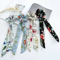 Womens Floral Bow Long Hair Rope Scrunchies Bohemian Ponytail Holder Wristband