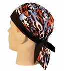 PATRIOTIC FLAMES SKULLCAP HEAD WRAP **MADE IN THE USA** BUILT IN SWEAT BAND