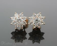 SIMULATED DIAMOND 14CT ROSE GOLD IP CLUSTER LARGE FLOWER STUD EARRINGS