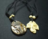 Old Tibetan Yak Bone Pendant Ganesh Elephant God Ganesha Buddha Amulet Necklace