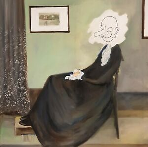 Mr Bean's Whistlers Mother. Oil on canvas. Hand made. Roll shipping