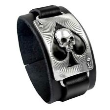 ALCHEMY ACE OF DEAD SPADES LEATHER WRIST STRAP Pewter Cuff Bracelet Motorhead