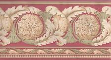 Wallpaper Border Architectural Acanthus Leaf Medallion Scroll Pink Sage Cream