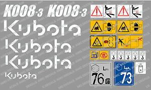 KUBOTA K008-3 MINI DIGGER COMPLETE DECAL SET WITH SAFETY WARNING SIGNS