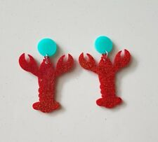 Statement stud red pinchy lobster earrings drop dangle acrylic studs aqua pad