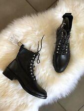 Zara Black Leather Studded Biker Ankle Boots UK7 EU40 US9 # 704