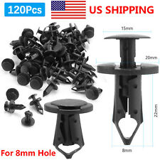 120Pcs 8mm Hole Dia Plastic Rivets Fastener Push Clips Clip for Car Auto Fender