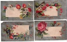 4 Silver Cards w Berries and Flowers No Advertising Vict Cards c 1880s