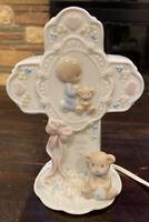 Vtg 1993 Precious Moments Cross Porcelain Table Lamp Jesus Loves Me Baby's Room