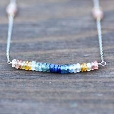 Natural Multi Colored Sapphire Necklace Solid 14K White Gold 5th Anniversary