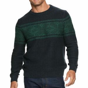 Croft & Barrow Mens Sweater Medium Navy Blue/Green Crew Retail $55