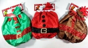XS/S M/L Dog Costume SANTA ELF REINDEER 2PC Suit/Hat Nylon Glitter NWT