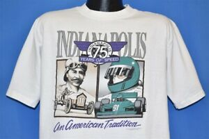 vtg 90s INDIANAPOLIS 500 75 YEARS INDYCAR AMERICAN TRADITION t-shirt RACING L