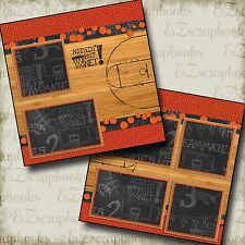 BASKETBALL COURT - 2 Premade Scrapbook Pages - EZ Layout  1