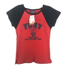 Officially Licensed FDNY Girls Top Size XL Baseball Style Red Blue NEW
