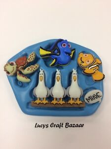 Silicone Mould Finding Nemo Dory Crush Seagulls Cupcake toppers decorations MINE