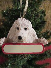 Poodle White Ornament # 28