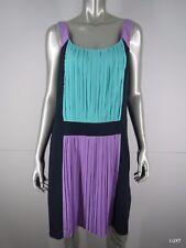 NWT BETSEY JOHNSON Purple Green Blue Satin Pleated Sheath Dress 12 L Large NEW