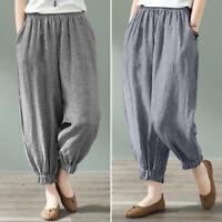 ZANZEA Femme Pantalon Coton Bande Poches Casual en vrac Taille elastique Plus