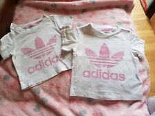 baby girl Adidas t shirts x2. size 0-3 months and 3-6 months. white/pink....