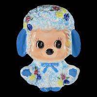 Vintage Puppy Dog Planter Vase Japan Blue Bow Flowers