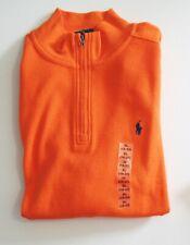 Polo Ralph Lauren Boys Waffle Knit Half Zip Pullover Bright Signal Orange Sz M