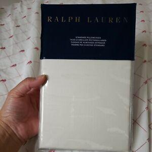 NEW Ralph Lauren Olivia Mirada 100% Cotton 2 Standard Pillowcase Vintage Cream
